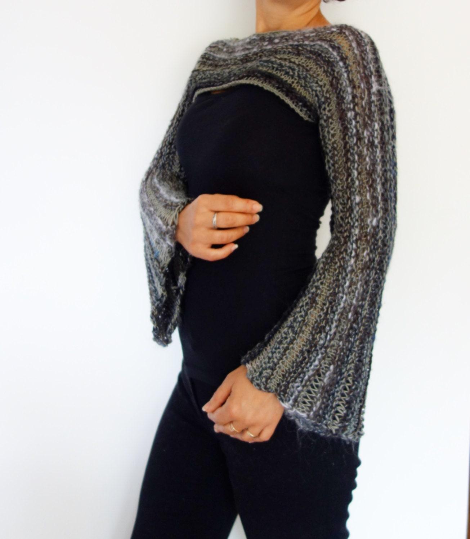 Bohemian Knitting Patterns : Knitting Pattern Cropped Bohemian Top/ Boho Knit Shrug/