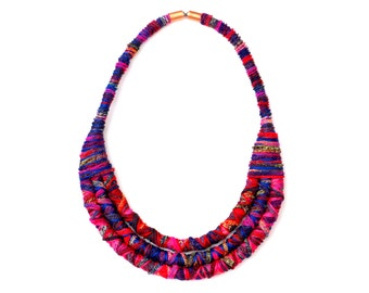 Fabric Bib Necklace, Colorful Textile Rope Necklace, Statement Jewelry, Statement Necklace, Boho Necklace, Colorful Jewelry, Fiber Necklace