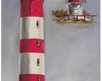 Original acrylic on canvas: Amrum Lighthouse / 30 x 60 cm