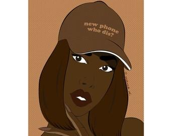 Leanne new phone baseball cap summer pop art girl poster print