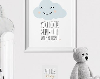 Smiley cloud, Nursery Print, Wall Art, Poster, Pastel print, You look super cute when you smile, Quote Print, Nursery DecorArtFilesVicky