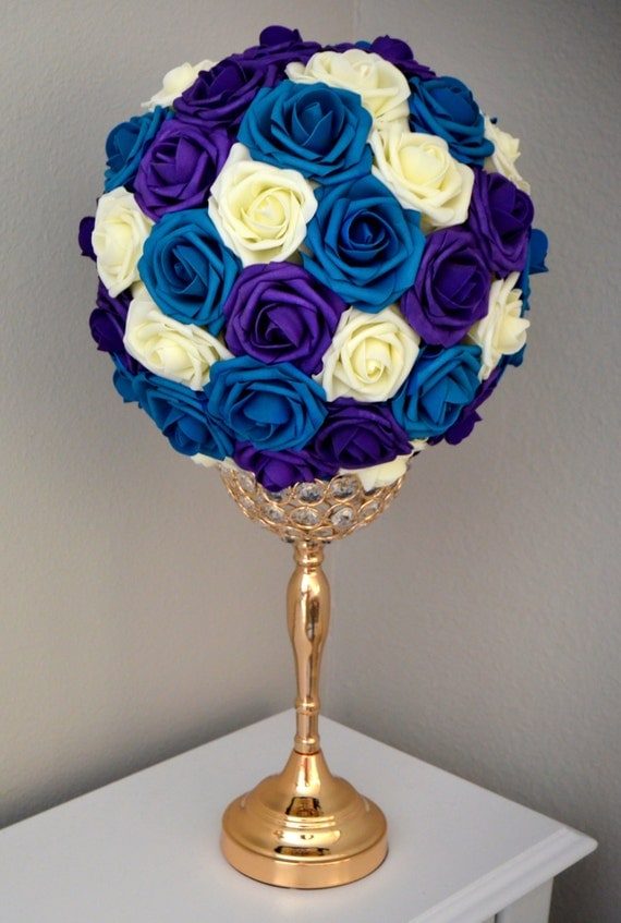 TEAL PURPLE And IVORY Flower Ball. Wedding Centerpiece.