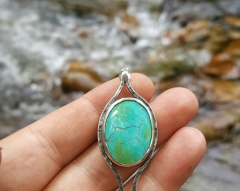 925 Sterling Silver Turquoise Necklace - OOAK - Rustic - Hammered - Gift