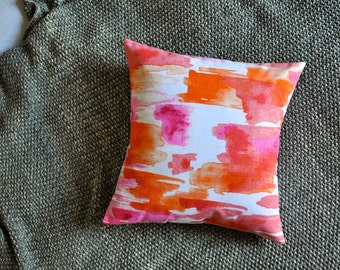 Watercolour Cushion Cover, Throw Pillow Cover, Throw Cushion Cover, Decorative Cushion Cover, Decorative Pillow - Orange & Pink Brushstrokes