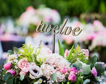 Wooden Script Table Numbers / Wedding Centerpiece Numbers / Laser Cut Table Sign