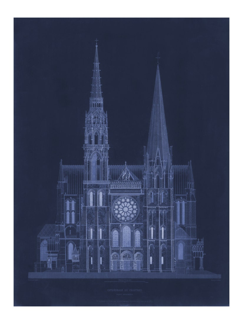 Cathdrale de chartres in blue vintage architecture blueprint cathdrale de chartres in blue vintage architecture blueprint old maps and prints architectural drawing restoration french decor malvernweather Image collections