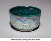 Tea Bowl Chawan, Luster Green Blue Silver, Wabi Sabi, Medium Raku Fired, Texture, Food Safe.