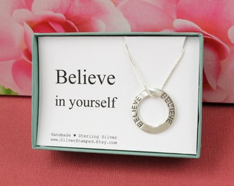 Believe in yourself necklace sterling silver inspirational jewelry in a gift box gift for daughter, niece, granddaughter, graduate, friend
