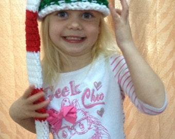 Santa elf hat, christmas hat, photo prop, cold weather, long tail, pom pom