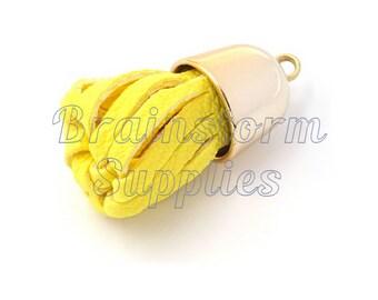 Tassels - Decorative Tassels - 6 Yellow Tassels with Pale Gold Caps - Key Chain Tassel - Tassels for Jewelry - Diy Purse Tassel - TD-2G10