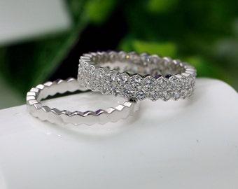 Eternity Band Ring, Silver eternity ring, CZ eternity band, Silver band, Stackable ring, Eternity band ring, Wedding ring set