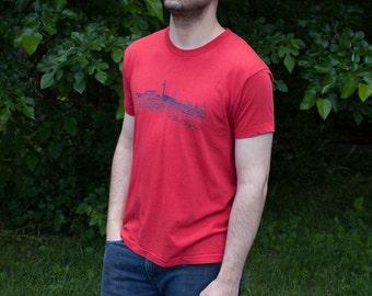 Red Vintage Portland Maine Tee Shirt