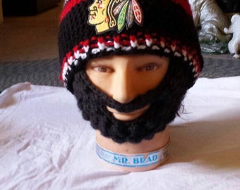 CHICAGO BLACKHAWKS Bearded Beanie,Customize Chicago Blackhawks Bearded Beanie, Any Size,Any Color,Sports Fashion,Check all 5 Pics,Great Gift