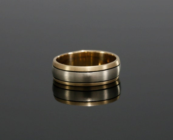 6.2mm Wide Diamond Men's Wedding Band in 14k Gold, High Polish Finish, Men's Band in Two Tone Gold, 14k White and Yellow Gold