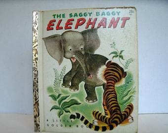 The Saggy Baggy Elephant, Vintage Little Golden Book, 1940s, 1947, Vintage Illustrations, Vintage Ephemera