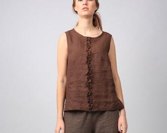 Washed linen top / Linen blouse / Natural linen sleeveless blouse / Linen shirt / flax blouse / linen top