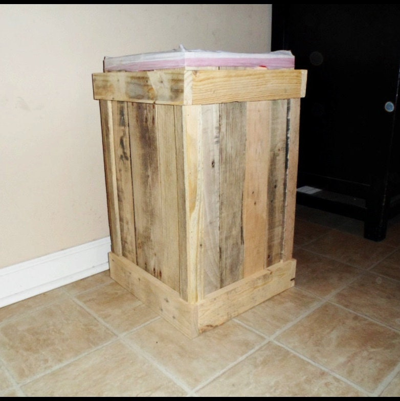 wood trash can rustic kitchen decor unfinished 13 gallon