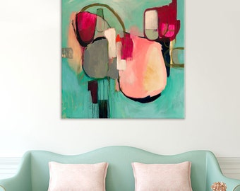 Home Decor, large square abstract print, large abstract art print, abstract wall art, original abstract painting, wall art, pink painting