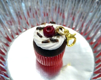 Black Forest Cupcake Charm, Black Forest Cake Charm, Polymer Clay Cupcake Necklace, Chocolate Cherry Charm Necklace, Miniature Food Jewelry