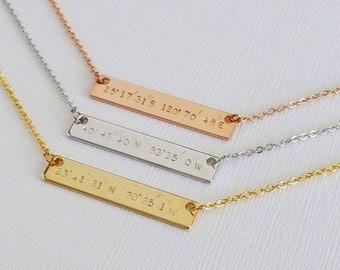 Custom Gold Coordinates Necklace, Location GPS Coordinates, Latitude Longitude, Wedding Gift, Bridesmaid Gift, Personalized Bar Necklace