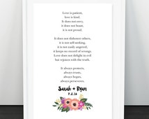 Love Bible Verse with Custom Wedding Date. Love is Kind. Corinthians 13:4-7 Anniversary Gift. Cheap Wedding Gift. Couple Name. Wedding Date