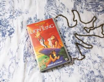 Disney's The Lion King upcycled VHS shoulder bag, repurposed video case handbag, clutch, retro