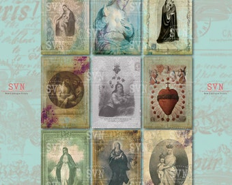 Holy Cards - Virgin Mary and Jesus - 9 different designs - 1 Printable ATC Cards Digital Collage Sheet