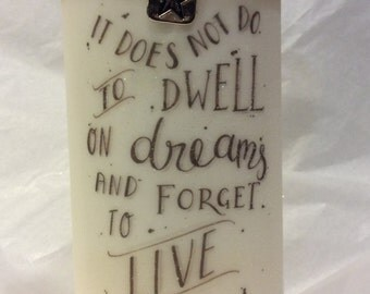 HARRY POTTER CANDLE inspirational quote candle