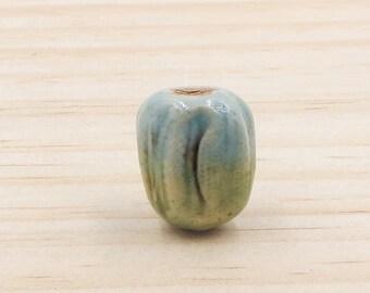 Ceramic Focal Bead Handmade Blue Green Pottery