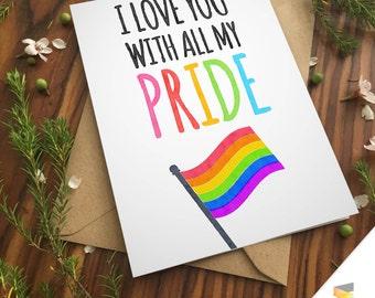 LGBT LOVE FLAG emoji gay greeting card lesbian couple love anniversary funny pride girlfriends lgbt equality boyfriends rainbow birthday