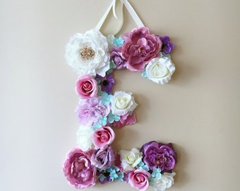 Floral letter, 14''/18''/24'' Personalized wall art, Floral letter nursery, Flower letters, Nursery decor, Baby shower gift, Wall letters