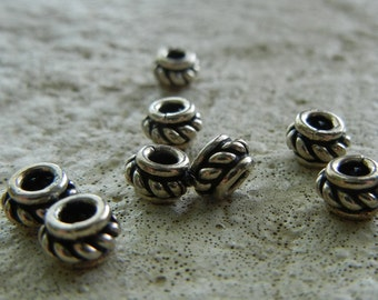 Bali Silver Roped Rondelle 3.5 x 5mm (1 pc)