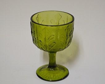 Vintage 1975 FTD Olive Green Glass Pedestal Oak Leaf Pattern Planter Candy Dish Bowl Compote