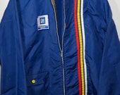 Vintage Mid 1970s Navy Blue Mechanic's Jacket / Windbreaker - Red Yellow + White Racing Stripes, GM Parts Patch - Size Medium