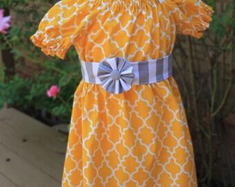 Girl's Dress-Yellow and Gray Dress-Toddler Dress- Peasant Dress