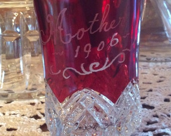 Antique McKee EAPG  Ruby stain Victorian creamer Mother's 1906 souvenir Heart band pattern