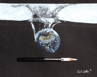 Plunge Original Drawing - Surrealism - Earth - Water Splash - Colored Pencil