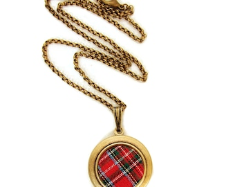 Plaid Tartan Locket - Vintage Red Plaid Scottish Fabric Locket Necklace