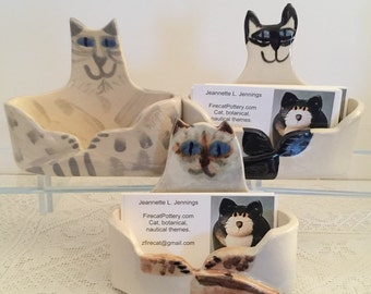 pottery cat: desk business card holder blue eyed Siamese cat ceramic decor office feline theme pet resort designer