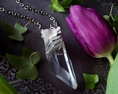 Crystal Necklace - Large Clear Quartz Pendant - Quartz Crystal with Long Silver Chain - Arkansas Quartz Crystal Pendant Necklace