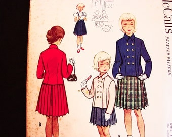 1950s Pattern Girls size 6 UNCUT Jacket, Pleated Skirt Pattern Girls School Dress Pattern Suspender Skirt, Double Breasted Jacket