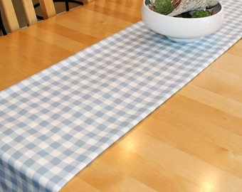 Light Blue Check Table Runner - Premier Prints Plaid Weathered Blue White - Farmhouse Country Home
