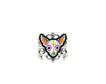Chihuahua in White Ring - Day of the Dead Sugar Skull Dog Adjustable Band
