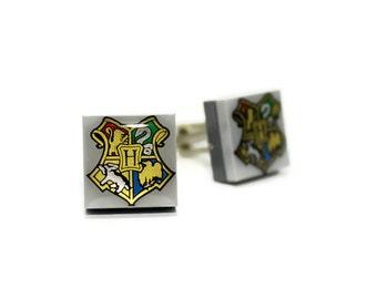 Geek Cufflinks, made from Harry Potter Hogwarts LEGO® Tiles