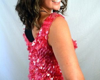Fun Pink Classic Designer Vintage Ultra Glam Sequin Helen Wong Party Top
