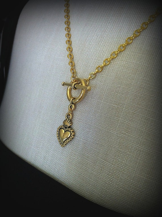 Gold Sacred Heart Ex Voto Milagros Toggle Necklace Corazon