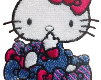 Hello Kitty Patch, Kawaii Sanrio Embroidered Iron On Patch, Cute Ribbon Bow Iron on Applique For Girl, Made Japan, Embroidery Applique, W203