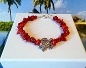 Red coral bamboo sea turtle bracelet beach charm bracelet coastal jewelry gift ideas