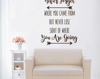 Never forget where you came from - wall decals - inspirational quotes - home decor - wall decor