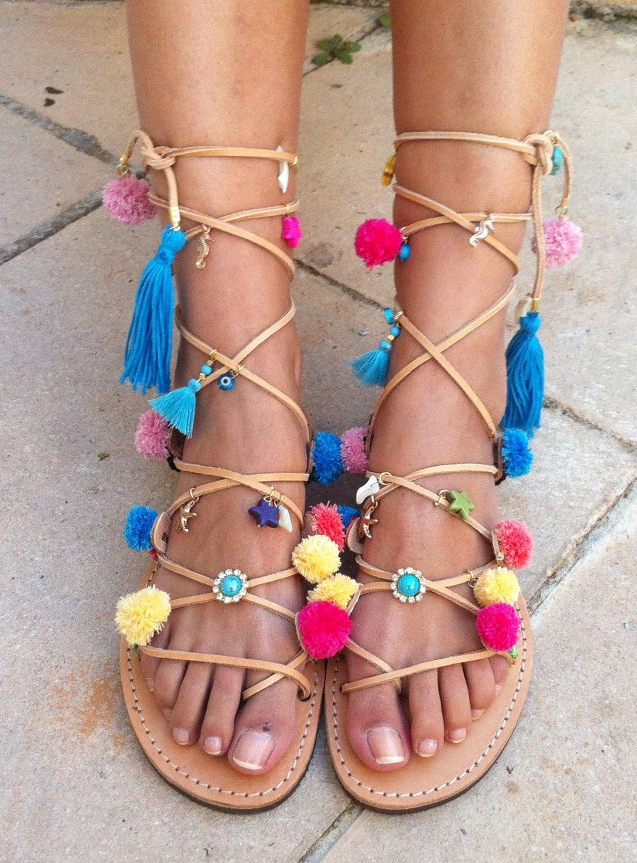 Boho sandals pom pom sandals gladiator sandalsbohemian